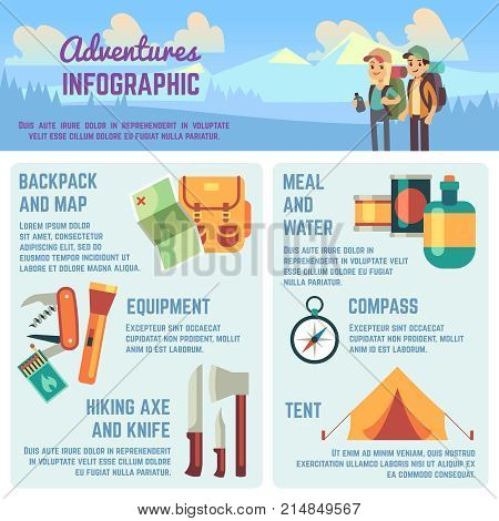 Outdoors adventure vector infographics with hiking and climbing equipment icons, traveling people and charts. Adventure infographic travel, backpack and camp, equipment compass illustration