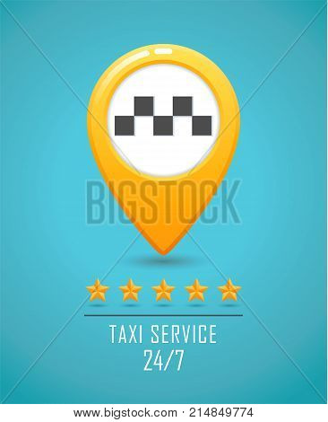 Taxi service banner. Yellow taxi icon. Yellow Map pin with taxi car sign on blue background. Vector illustration