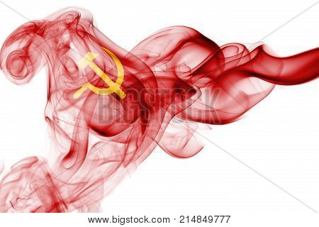 Communist smoke flag isolated on a white background
