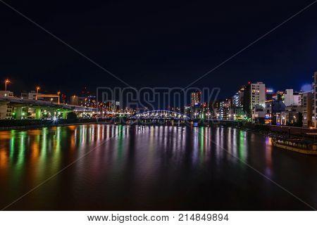 Night SceneView of Sumida River in Asakusa area Tokyo Japan
