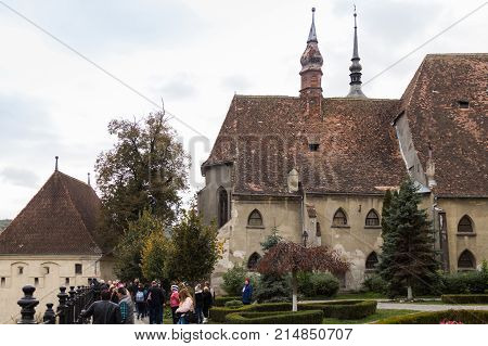 Sighisoara Romania October 08 2017 : Tourists visiting the castle of old city in Sighisoara city in Romania