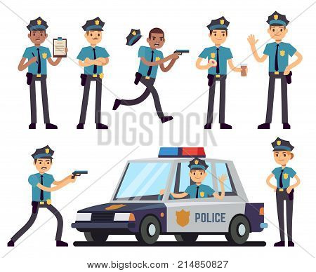 Cartoon policewoman and policeman characters in police uniform vector set. Police officer character, cop in hat illustration