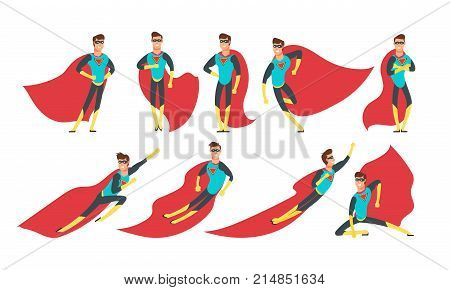 Superhero man in different poses. Cartoon superheroes vector comic characters set. Power character male, superhero cartoon man illustration