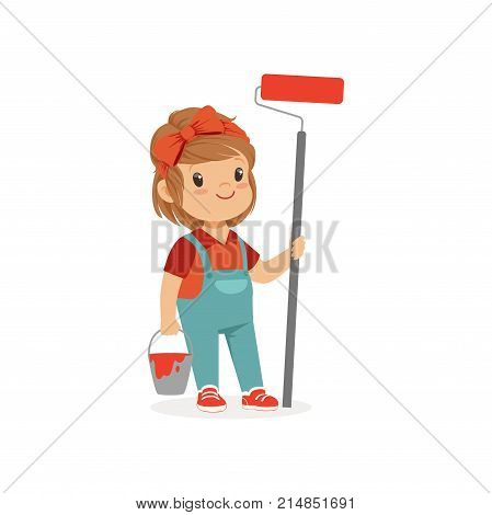 Illustration of cute little girl with bucket and paint roller in hands isolated on white. Child want to be painter. Future career dreaming concept. Costume for career day. Cartoon flat vector.
