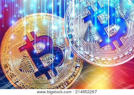 Physical Version Of Bitcoin (new Virtual Money) With Colorful Effect