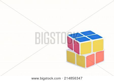 Bangkok- Thailand Rubik's cube on the white background. Rubik's Cube o cube toy puzzle, 2x2 square. Rubik's Cube invented by a Hungarian architect Erno Rubik