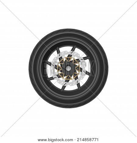 Detailed drawing of motorcycle wheel. Realistic image of detail of bike. Part of vehicle mechanism. Vector illustration