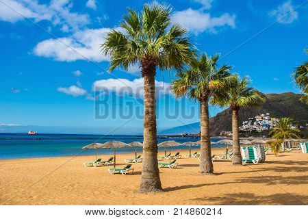 Amazing view of beach las Teresitas with yellow sand umbrellas longues and palm trees. Location: Santa Cruz de Tenerife Tenerife Canary Islands. Artistic picture. Beauty world.
