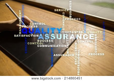 Quality assurance concept on the virtual screen. Business concept. Words cloud