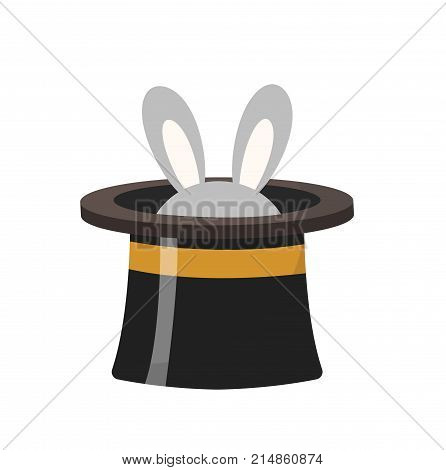 Magician hat with a rabbit icon flat style , isolated on white background. Vector illustration