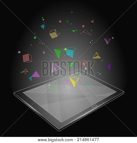 Ebook tablet PC virtual reality visual imagination mind effect. Low poly polygonal geometric shapes. Creative e-learning reading on electronic touch screen black media vector illustration art