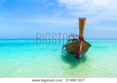 Amazing view of beautiful beach with traditional thailand longtale boat. Location: Bamboo island Krabi province Thailand Andaman Sea. Artistic picture. Beauty world.