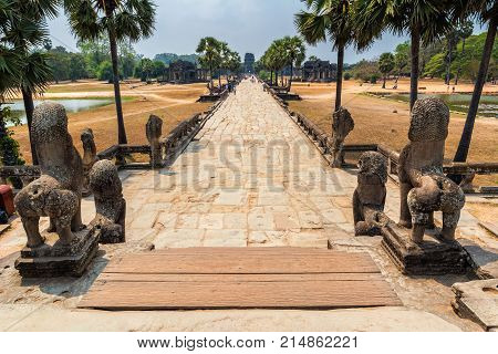 SIEM REAP CAMBODIA - MARCH 7 2017: Сomplex Angkor Wat is the largest religious monument in the world on March 7 2017 in Siem Reap province Cambodia. Angkor Wat was first a Hindu then subsequently a Buddhist temple complex in Cambodia