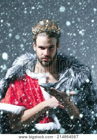 new year christmas snow concept Christmas guy in santa fur coat in crown. Drag queen homosexual and trans. Cinderella prince with shoe on grey background. Freak gay and transvestite. Freedom lgbt poster