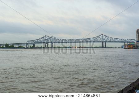 Crescent City Connection, formerly the Greater New Orleans Bridge, cross the Mississippi River in New Orleans, Louisiana, USA.