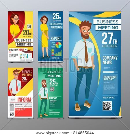 Roll Up Banner Set Vector. Vertical Billboard Template. Businessman And Business Woman. Expo, Presentation, Festival. For Corporate Forum. Presentation Concept. Realistic Flat Illustration