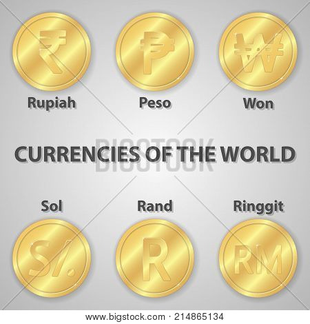 Set of six gold coins with currency signs of the world. Golden rupiah peso and etc.
