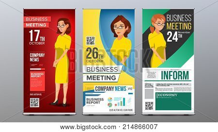 Roll Up Banner Set Vector. Vertical Billboard Template. Business Woman. Expo, Presentation, Festival. For Corporate Forum