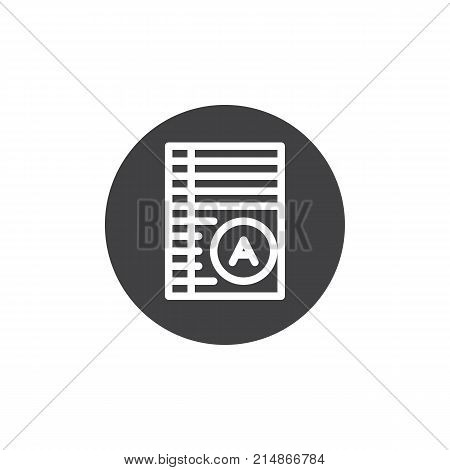 Test paper with excellent mark icon vector, filled flat sign, solid pictogram isolated on white. Exam list symbol, logo illustration.