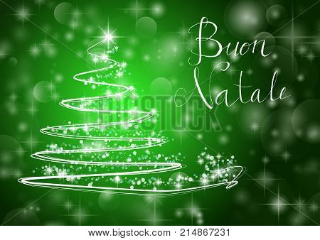 Abstract Christmas Tree On Shiny Green Background With The Writing