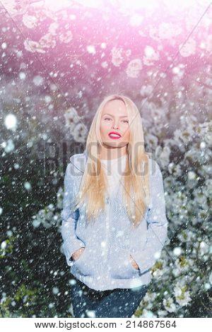Beauty Portrait, Beautiful Blonde Woman In Spring Flowers Blossom