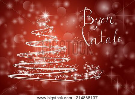 Abstract Christmas Tree On Shiny Red Background With The Writing