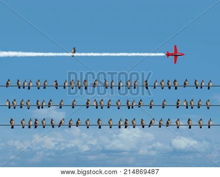 Creative possibility and innovative new thinking as a group of birds on wires with one individual sitting on the smoke trail of an airplane jet with 3D render elements.