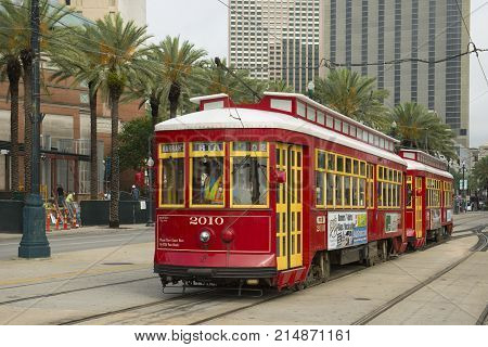 NEW ORLEANS - MAY. 31, 2017: RTA Streetcar Canal Line Route 47 or Route 48 on Canal Street in downtown New Orleans, Louisiana, USA.