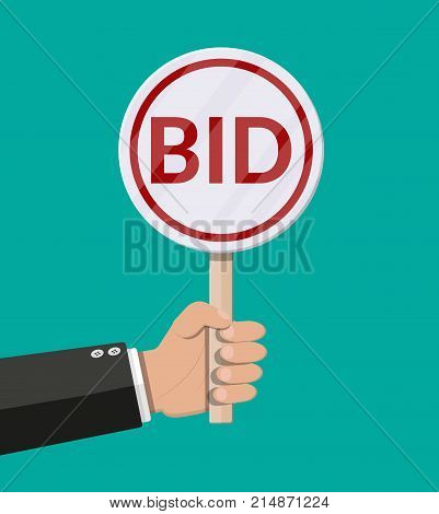 Hand holding auction paddle. Bid plate. Auction competition. Vector illustration in flat style