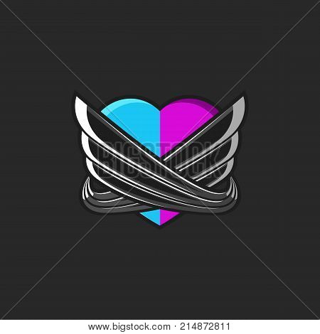 A Stylized Heart Consisting Of Two Unified Halves Of Pink And Blue Hearts Encircled By Abstract Ange