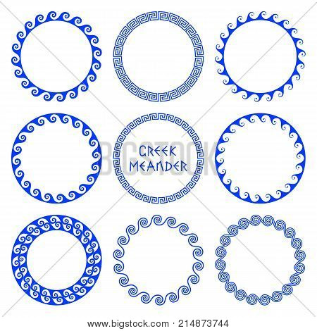 Vector set of round frames in Greek style with elements of sea waves isolated on white background. Traditional retro ethnic ornament of greece for design and decoration of text plates. Folk wavy mediterranean pattern