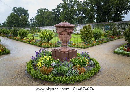 Garden medicinal herbs and formal park in ancient monastery Seligenstadt . Germany. Tourist attraction