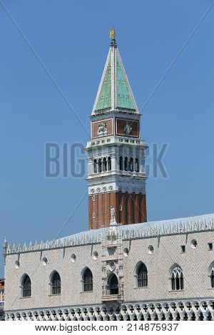 Venice Italy The High Bell Tower Of Saint Mark And Ancient Palac
