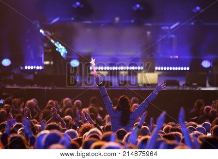 Young Woman At Live Concert