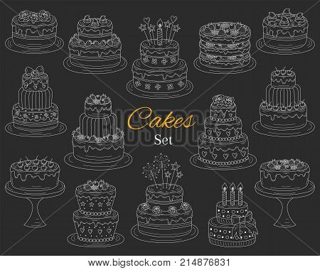 Cakes set vector hand drawn doodle illustration. Different types of tasty cakes. Birthday wedding cherry strawberry and chocolate cakes collection isolated on chalkboard.
