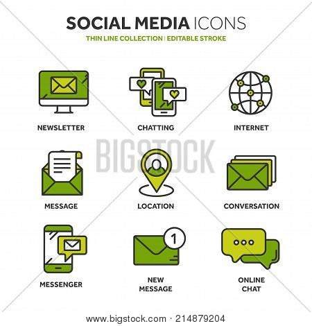 Communication. Social media. Online chatting. Phone call, app messenger. Mobile, smartphone. Computing.Email. Thin line blue web icon set. Outline icons collection. Vector illustration.