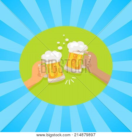 Fiends holding two glasses cheering each other on vector illustration in concept of Oktoberfest or Octoberfest festival on background with rays