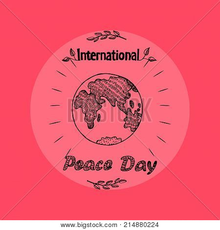 International peace day promo poster representing image of encircled earth, lines and leaves isolated on red background on vector illustration