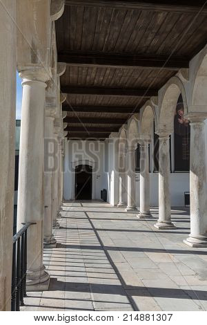 Arcade Hallway and Columns in Coimbra's Palace: Architecture in Portugal.