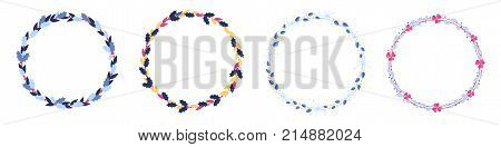 Set of European christmas berry wreath holly ilex aquifolium leaves and fruit. Floral  wreath xmas winter decor. Cartoon Vector decorative holly christmas round wreath with flowers isolated on white