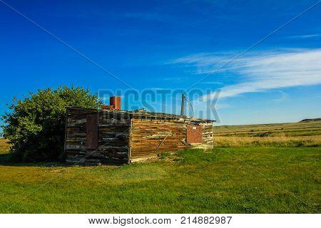 Abandoned ranch on the prairies. Grasslands National Park, Saskatchewan, Canada