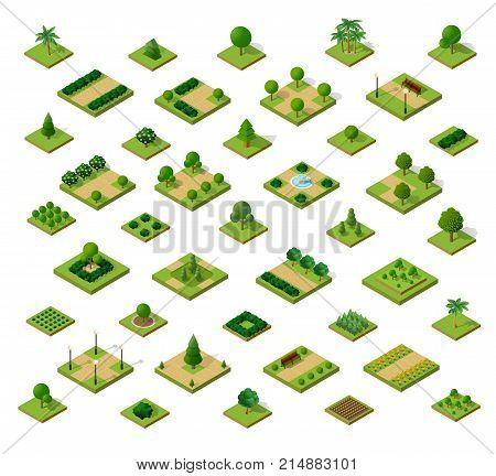 Set of 3D isometric urban parks. City natural ecological landscapes of town infrastructure. Trees lawns garden paths and benches the dimensional kit of items for construction of conceptual project