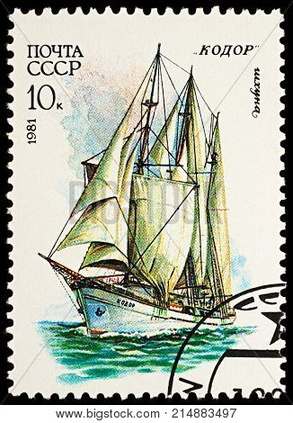 Moscow Russia - November 22 2017: A stamp printed in USSR (Russia) shows three-masted schooner