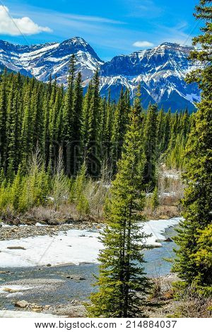 Big Horn river with last remnants of snow, Clearwater County, Alberta, Canada