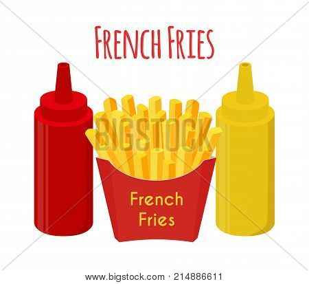 French fries, ketchup, mustard, fried potato. Made in cartoon flat style. Vector illustration