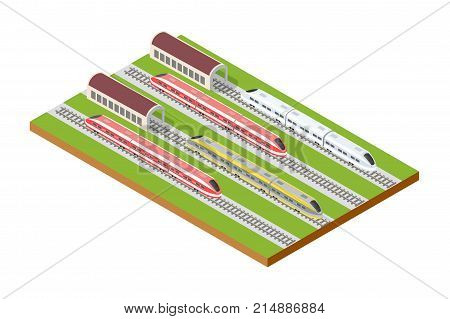 Illustration isometric high-speed train on the tracks in the city block near the hangar warehouse building