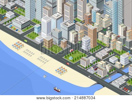 Illustration isometric large megalopolis city district with the streets, the promenade and the beach with umbrellas and sunbeds