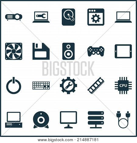 Gadget Icons Set With Desktop, Wrench, Palmtop And Other Usb Elements. Isolated Vector Illustration Gadget Icons.