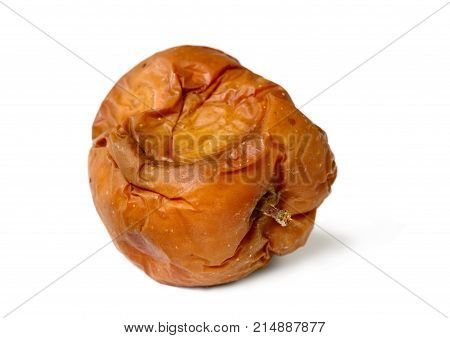 Old Rotten Apple On White Isolated Background