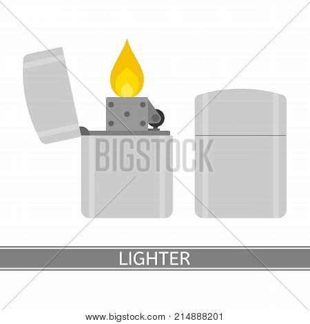 Vector illustration of lighter isolated on white background. Equipment for camping hiking survival in flat style.